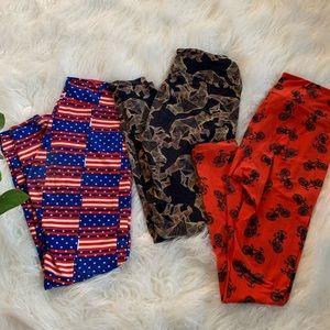 Bundle of THREE gently used OS LulaRoe leggings!